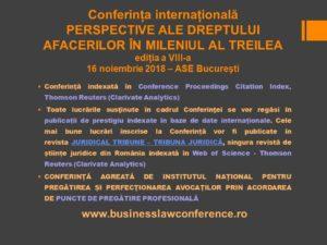 Conferinta Perspective ale Dreptului Afaceirlor in Mileniul al Treilea, editia VIII, 2018